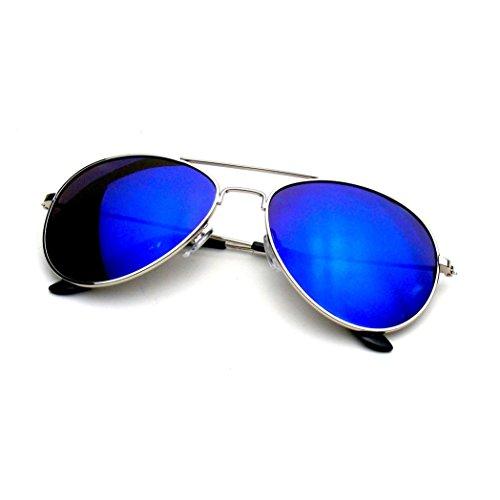 Emblem Eyewear - Premium Classic Metal Frame Reflective Revo Mirror Lens Aviator Sunglasses (Blue - Fast Sunglasses Shipping