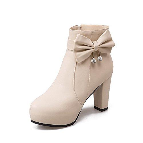 AllhqFashion AllhqFashion AllhqFashion Women's Solid PU High-Heels Zipper Round Closed Toe Boots B01M7RNYQQ Parent a13554