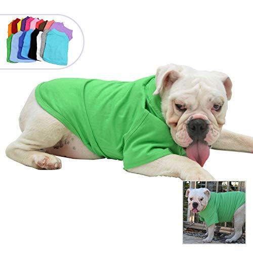 Lovelonglong Bulldog Clothes Dog Clothing Blank T-Shirt Tee Shirts for French Bulldog English Bulldog American Pit Bull Pugs 100% Cotton Skin Care Green B-L (Green T-shirt Bulldog Pets)