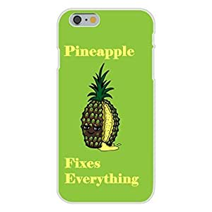 """Apple Ipod touch 6 Custom Case White Plastic Snap On - """"Pineapple Fixes Everything"""" Food Humor Cartoon"""