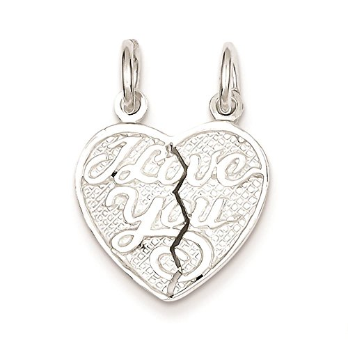 925 Sterling Silver I Love You 2-piece break apart Heart Charm Pendant