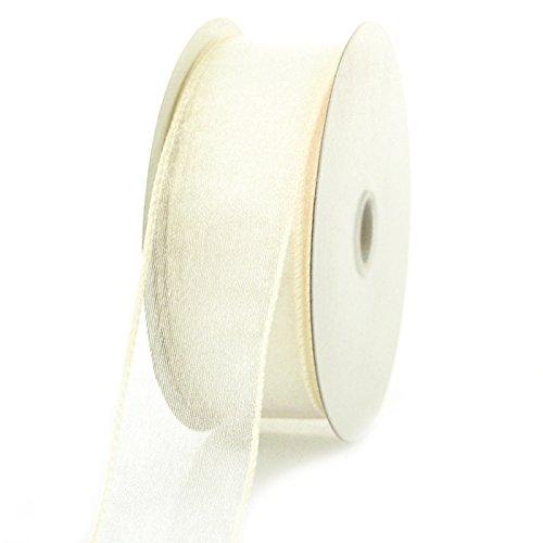 Homeford 4A54 Sheer Chiffon Ribbon Wired Edge, 25 yd, 1-1/2