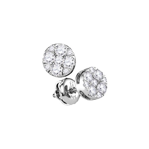 14kt White Gold Womens Round Diamond Flower Cluster Stud Earrings 1/2 Cttw (I1-I2 clarity; H-I color) 14kt Gold Birthstone Cluster Earrings