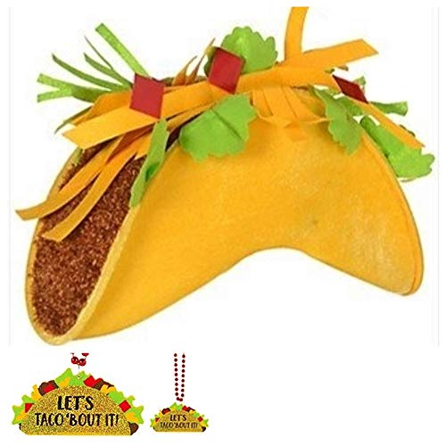 (JGT Cinco De Mayo Taco Hat Fiesta Mexican Food Yellow Fabric Costume Partygoers Party and Beaded Necklace - Bundle of 2 )