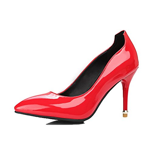 Allhqfashion Dames Lakleder Gesloten Teen Hoge Hakken Pull-on Pumps-schoenen Rood
