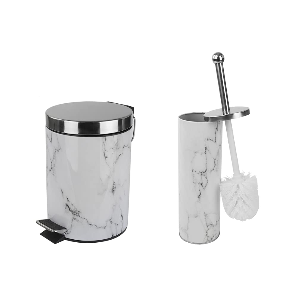 Home Basics Faux Marble Bathroom Set   White & Grey   Stainless Steel   Toilet Brush & Holder   Garbage Can   Functional Design  