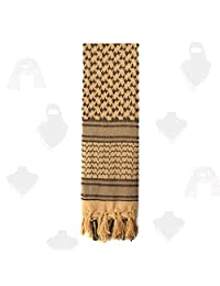 PSKOOK 100% Cotton Military Shemagh Tactical Desert Arab Scarf 110 * 110cm Unisex Winter Keffiyeh Windproof Scarves (Brown)