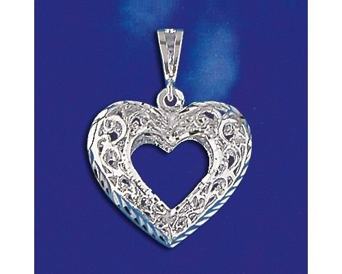 (Sterling Silver Heart Pendant Elegant Love Charm Solid 925 Silver New - Silver Jewelry Accessories Key Chain Bracelet Necklace Pendants)