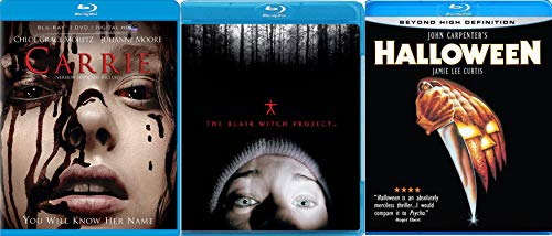 Must-See Horror Blu-ray Triple Pack - John Carpenter's Halloween, The Blair Witch Project (Original) & Carrie (Blu-ray/DVD Combo) 3-Movie Bundle -