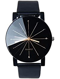 Men's Analog Quartz Black PU Leather Watch
