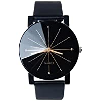 Perman Men's Analog Quartz Black PU Leather Watch
