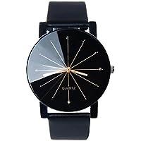Perman Reloj analógico de cuarzo de cuero sintético negro, para hombre