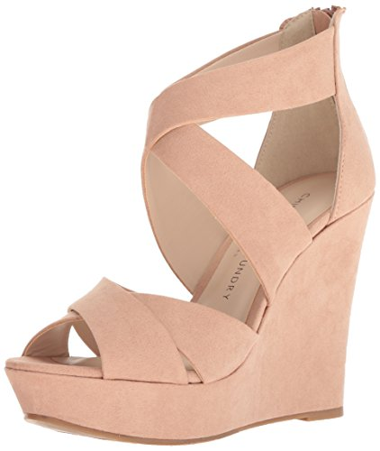 (Chinese Laundry Women's Milani Wedge Sandal, Dark Nude Suede, 6 M US)