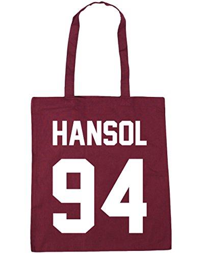 HippoWarehouse Hansol–�?4(impreso en el) bolsa de la compra bolsa de playa negro 42cm x38cm, 10litros granate