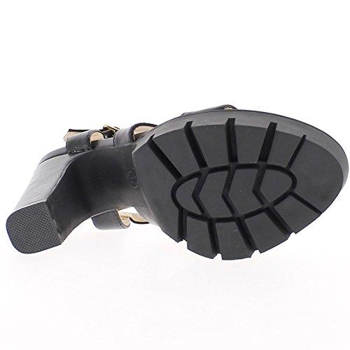 Große 12 cm heels schwarz Sandalen