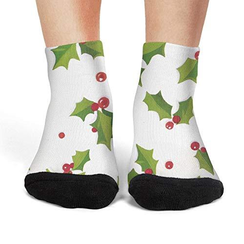 XIdan-die Womens Athletic Crew Socks Christmas Holly Leaves and Berries Moisture Wicking Casual Socks