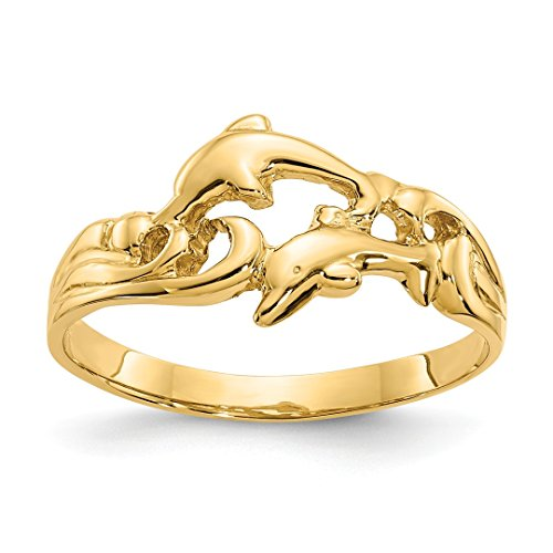 14k Yellow Gold Double Dolphins Waves Band Ring Size 6.50 Animal Fine Jewelry For Women Gift Set ()