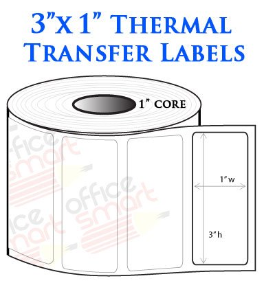 - OfficeSmartLabels ZT300100 Ribbon Required 3 x 1 Inch Thermal Transfer Labels, Compatible with Zebra Printers (1 Roll, White, 1300 Labels Per Roll, 1 inch Core)