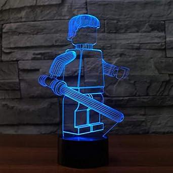 Cool Robot 3D Luz Nocturna Led 7 Color Cambiar Usb Mesa De ...
