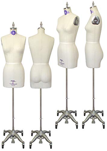 PGM Professional Dress Form Pinnable Mannequin Half Body with Collapsible Shoulders Includes Stand (Size 8)