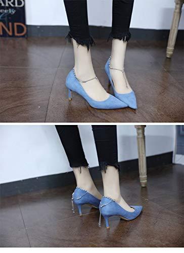 Pour 2019 Zzdsh Haut Des Les 38 La Souligné Chaussures À Femmes Mot Europe 35 Nouvelles unis A De Dame Printemps Et Sauvages Unique Daim États Chaîne Talon 6zqxP6A