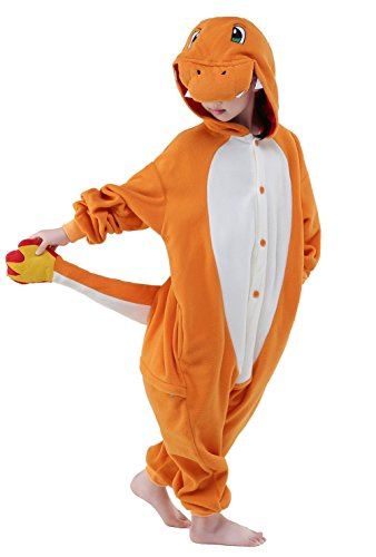 NEWCOSPLAY New Unicorn Pyjama Unisex Children Cosplay Costumes (105, Charmander) -
