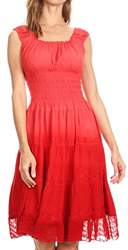 Peasant Girl Country Dress - Sakkas 6741 Spring Maiden Ombre Peasant Dress - Tulip Red - One Size