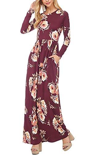 Maxi Volantes Redondo De Con Cuello Con Elegantes Vestir Cóctel Flores Rojo Vestir Vestido Impresión Larga Vestidos Bolsillos Manga De Mujer Fiesta Largos fUnaxppqP