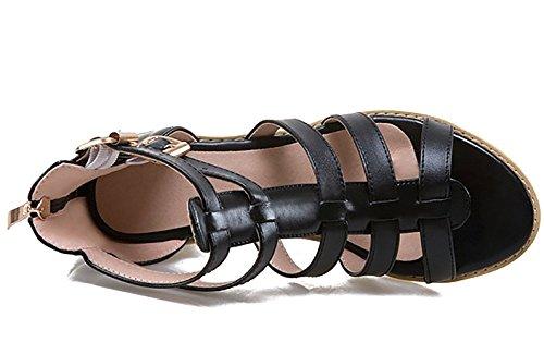 Odema mujeres Chunky tacon tobillo correa Gladiator Sandal pummp Black