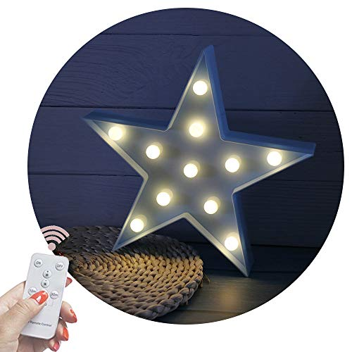 Obrecis Light Up Star Marquee Lights, Fairy Night Lights with Remote Control Marquee Signs Star Lamp for Desk Table, Birthday Gift, Christmas Decorations (RC Blue Star) -