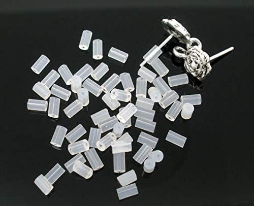 Kamas 1000Pcs 4x2mm Rubber Earring Back Trendy Ear DIY Jewelry Findings Making Accessories Earrings Back Handcraft Women Gift - (Color: Round 4x2mm 1000pcs)