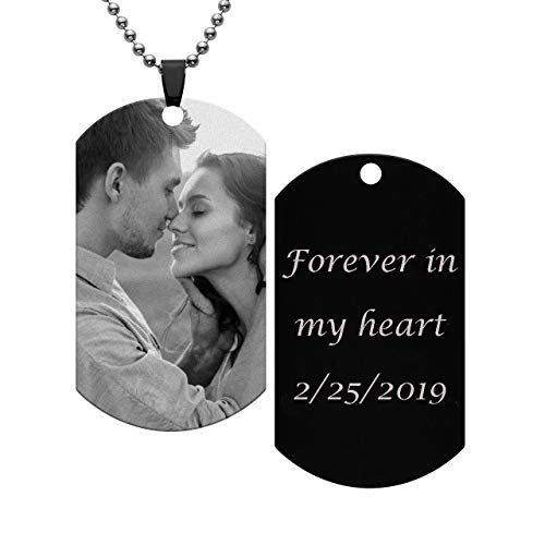 Personalized Master Custom Photo Text Dog Tag Pendant Customized Picture Necklace Valentine's Day Birthday Gift for Men Women -
