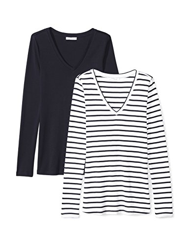 (Amazon Brand - Daily Ritual Women's Midweight 100% Supima Cotton Rib Knit Long-Sleeve V-Neck T-Shirt, 2-Pack, Navy-White Stripe/Navy, X-Large)