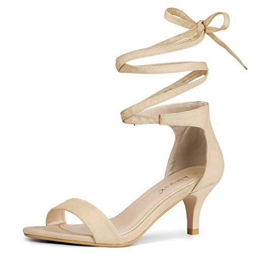 Allegra K Women's Open Toe Kitten Heel Lace Up Dress Nude Sandals - 7 M US ()