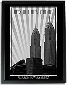 Al Kazim Towers Metro - Black And White F09-nm (a5) - Framed