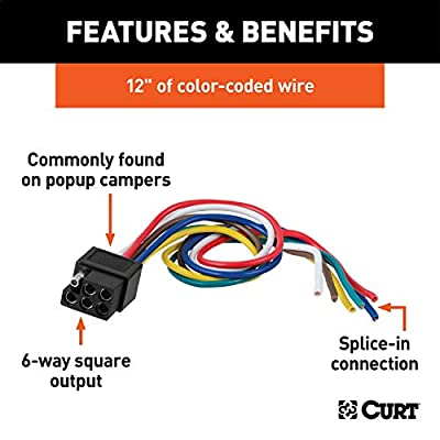 CURT 58035 Vehicle-Side Square 6-Way Trailer Wiring Harness with 12-Inch Wires, 6-Pin Trailer Wiring: Automotive