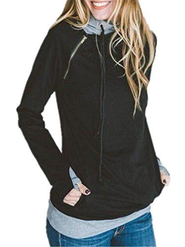 Cappuccio Sportiva Cappotto Felpa Pullover Black Casual Besthoo Moda Inverno Manica Lunga Elegante Con Alto Hoodies Collo Slim Donna Outwear Stampare Sweatshirt Giacca dOdqxt