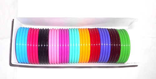 GOELX Plastic Acrylic Colorful Neon Bracelet Bangles Box for Women 48 Pcs Size 2.6 Diameter 66mm