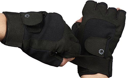 Weight Training Exercise Gloves - Great For Riding Weightlifting Cycling And More - Women and Men Sporting Glove (Half Finger, Black) (Black, Large)