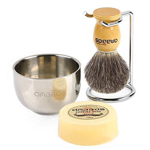 Shaving Brush Set, 4in1 Anbbas Fine Badger Shave Brush Wood Handle,Stainless Steel Shaving Stand and Soap Cup Dia 3.2inches with Shaving Soap Bar Natural Organic 3.5oz for Men