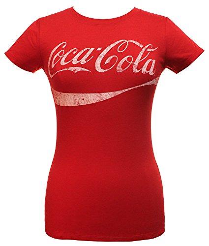 (Coca-Cola Juniors Classic Coke Logo Graphic Tee, Red, Large)