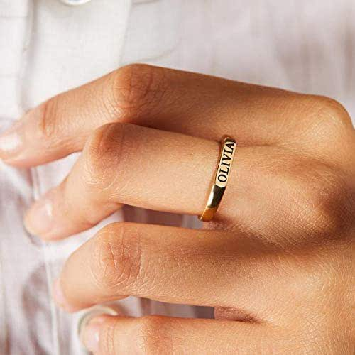 Dainty Name Ring Name Rings Monogram Ring Custom Name Ring Personalized Ring Valentine/'s Gift Custom Word Ring Name Ring