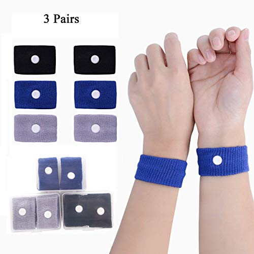 MQ Travel Motion Sickness Wristband, Natural Nausea Relief and No Side Effects, 3 Pairs