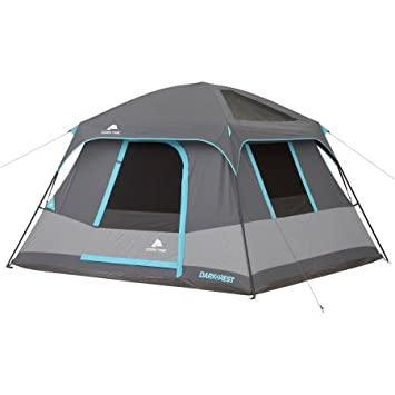 10 x 9 Ozark Trail Six-Person Dark Rest Cabin Family Camping and Adventure Tent, Includes a Gear Loft, Hanging Organizer, and Electrical Port Access and Ground Vent for Improved Air Circulation
