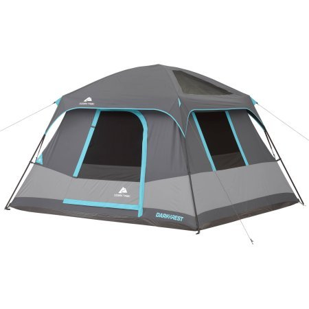 (10' x 9' Ozark Trail Six-Person Dark Rest Cabin Family Camping and Adventure Tent, Includes a Gear Loft, Hanging Organizer, and Electrical Port Access and Ground Vent for Improved Air Circulation)