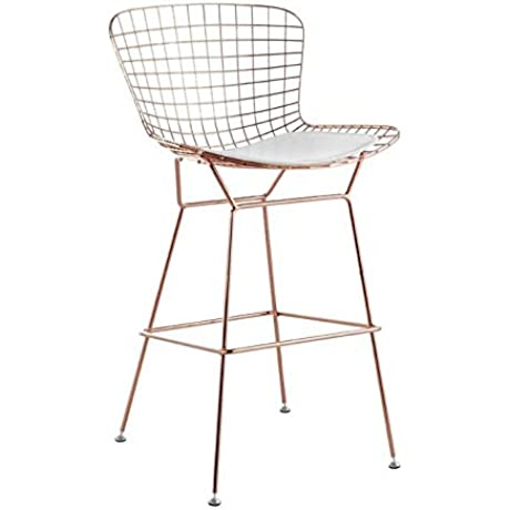 Bertoia Style Wire Barstool In Rose Gold Finish White Seat Pad