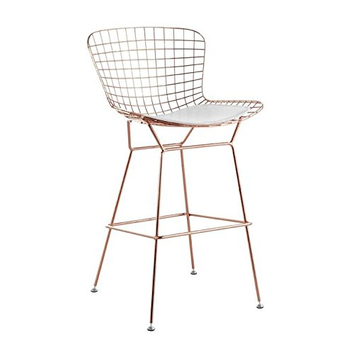Bertoia Bar Stool Seat Pad (Bertoia Style Wire Barstool in Rose Gold Finish (White Seat Pad))