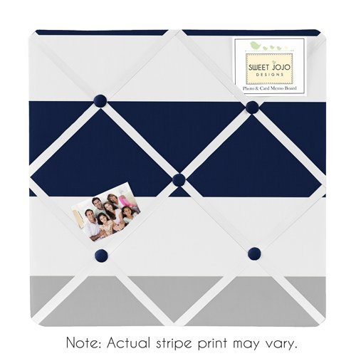 Navy Blue, Gray and White Fabric Memory/Memo Photo Bulletin Board for Stripe Collection (White Fabric Pin Board)