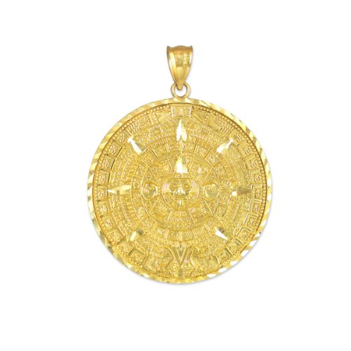 14k Yellow Gold Aztec Charm Mayan Calendar Pendant (25.4 Millimeters)