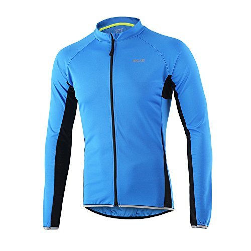 ARSUXEO Outdoor Sports Men's Slim Fit Cycling Jersey Long Sleeves Bike Bicycle MTB Shirts 6022 Blue Size X-Large ()
